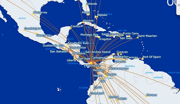 Copa Airlines, Panama, David, Copa Air, United, Central America Travel, Boquete, map of flights