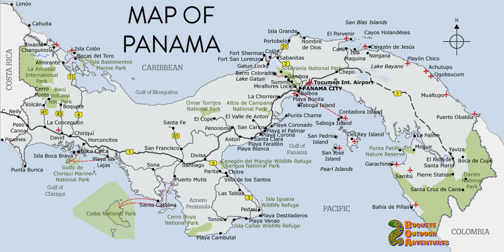 panama map, maps, travel central america