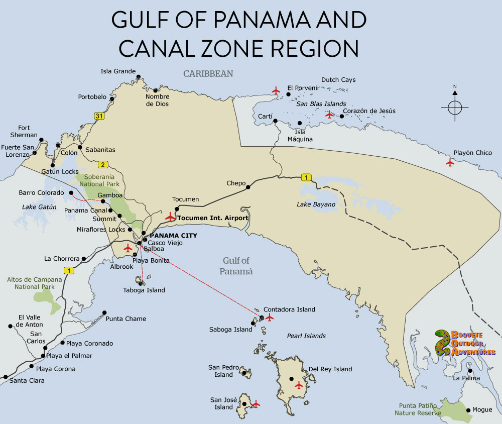 map panama canal zone, panama, gulf of panama map