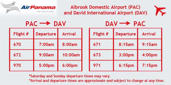 Air Panama Flight Schedule Panama