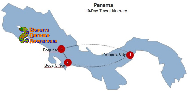10 day travel itinerary, 10 day tour, week tour, panama tours, travel package, boquete travel